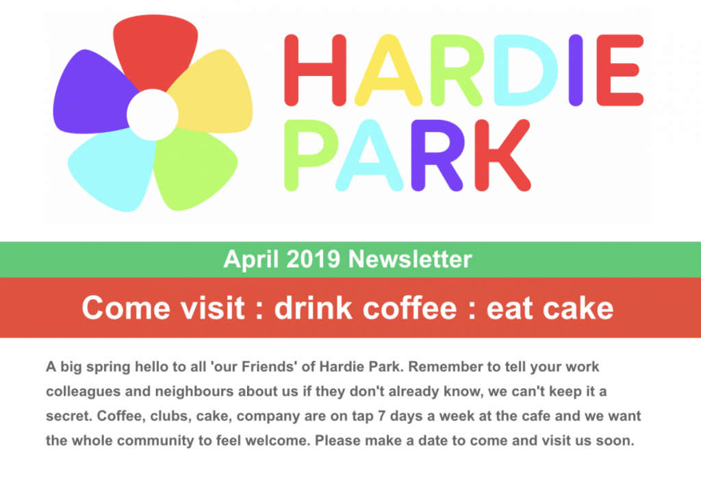 Come Visit Drink Coffee Eat Cake April Newsletter